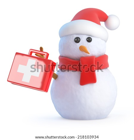 3d render of a snowman wearing a Santa Claus hat and holding a first aid kit - stock photo
