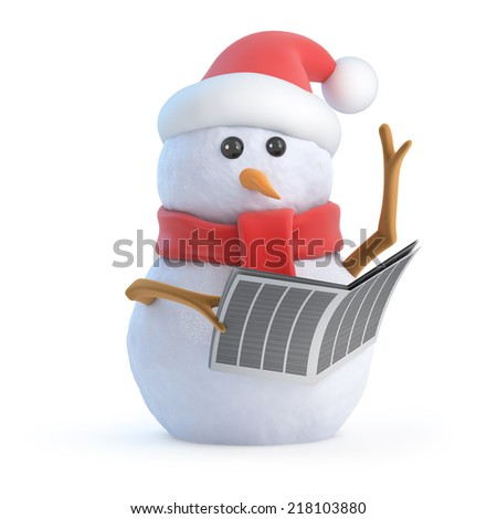 3d render of a snowman wearing a Santa Claus hat and reading a newspaper - stock photo