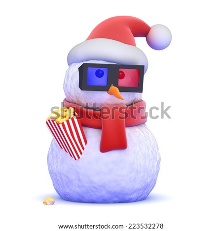 3d render of a snowman wearing a Santa Claus hat eating popcorn - stock photo