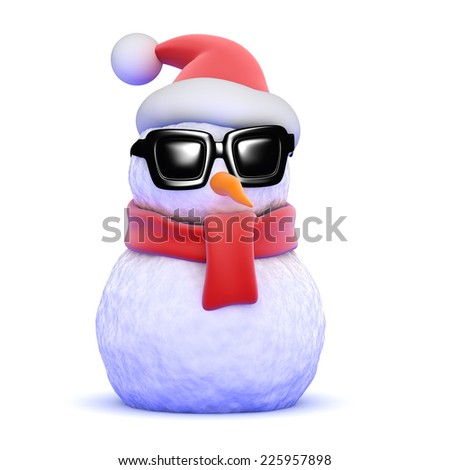 3d render of a snowman wearing a Santa hat and sunglasses - stock photo