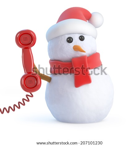 3d render of a snowman wearing a Santa hat holding a telephone handset - stock photo