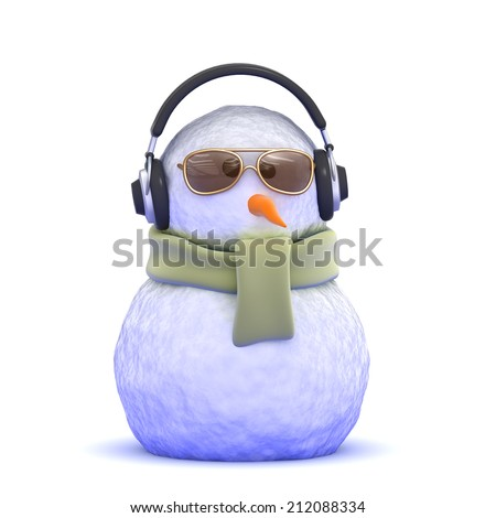 3d render of a snowman wearing headphones and sunglasses - stock photo