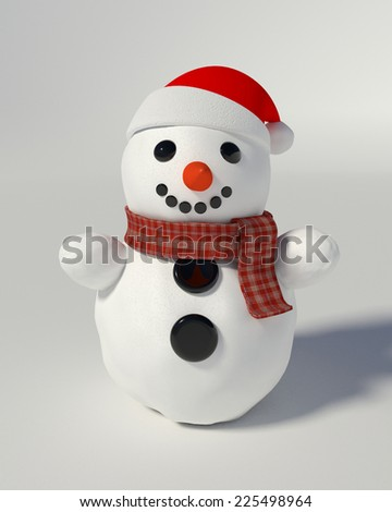 3d render of a snowman wearing santa hat  - stock photo