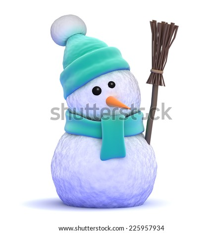 3d render of a snowman with a broom - stock photo