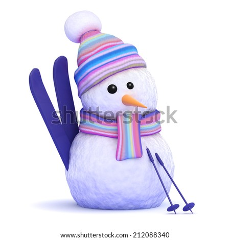 3d render of a snowman with skis - stock photo