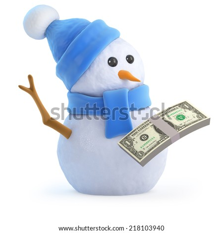 3d render of a snowman with US Dollar bills - stock photo
