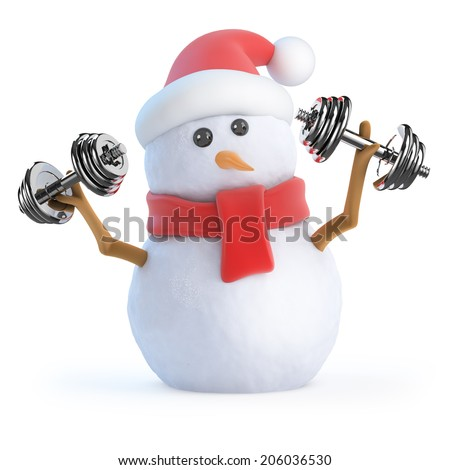 3d render of a snowman working out with weights - stock photo