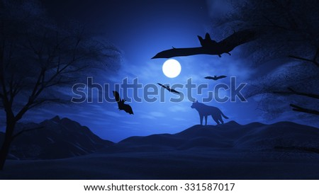 3D render of a spooky landscape with wolf and bats