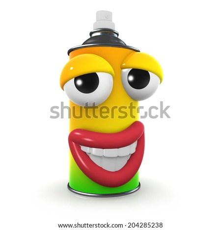 3d render of a spraypaint can with a cheesy grin - stock photo