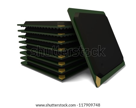 3d render of a stack of ball grid array bga components with soft shadow isolated on a white background - stock photo