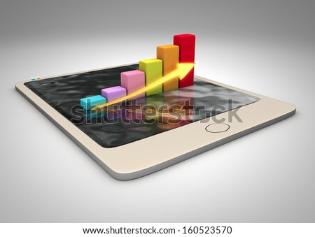3D render of a tablet pc on white background - stock photo