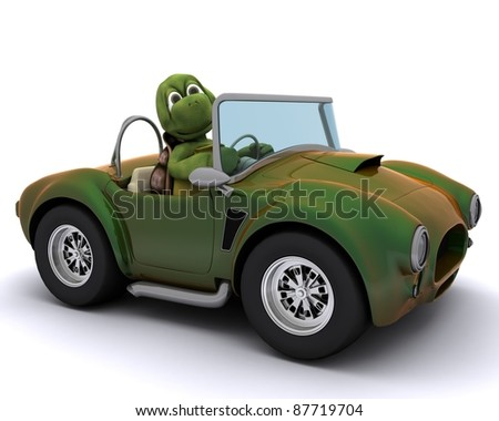 3d render of a tortoise driving a car