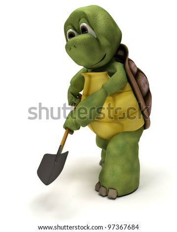 3D render of a tortoise with a spade