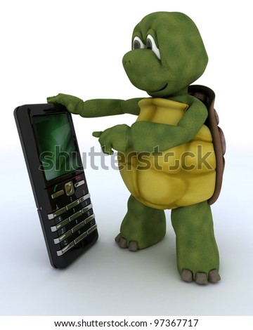 3D render of a tortoise with smart phone