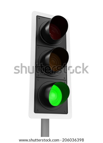 3d render of a traffic light with the green light lit