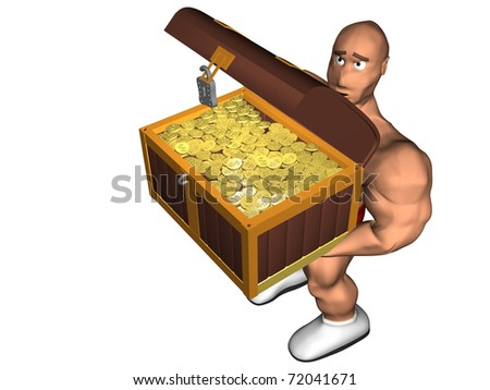 3d render of a treasure chest. Isolated on white background.