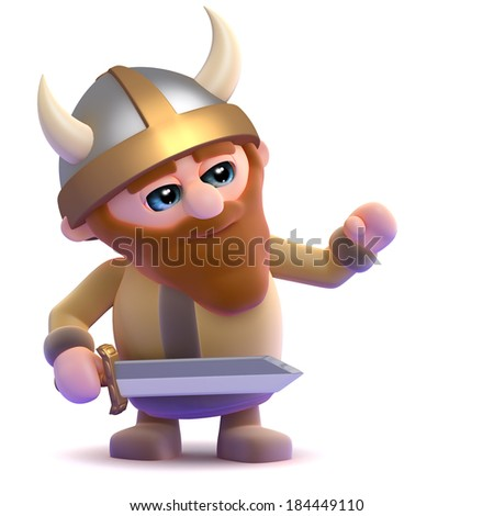 3d render of a viking gesturing to the right - stock photo