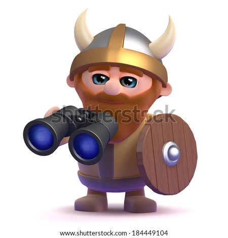 3d render of a viking holding a pair of binoculars - stock photo