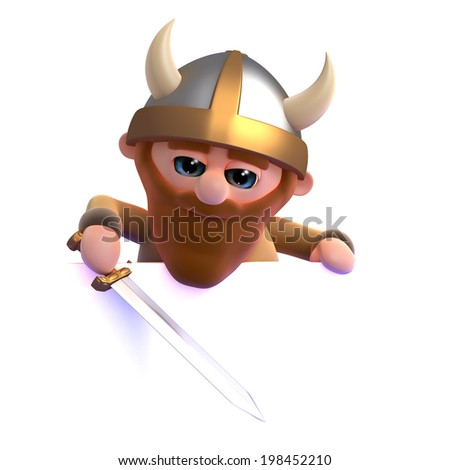 3d render of a viking looking over the top of a blank space - stock photo