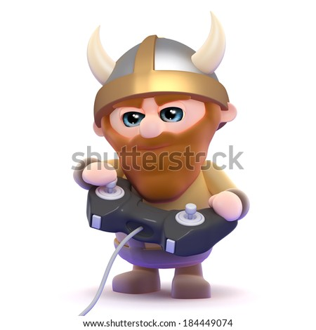 3d render of a viking playing a videogame - stock photo