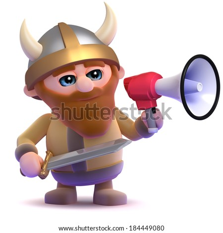 3d render of a viking using a megaphone - stock photo