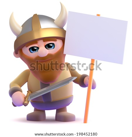 3d render of a viking with a placard - stock photo
