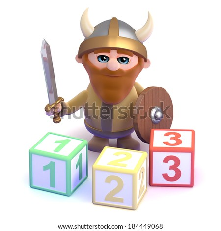 3d render of a viking with some counting blocks - stock photo