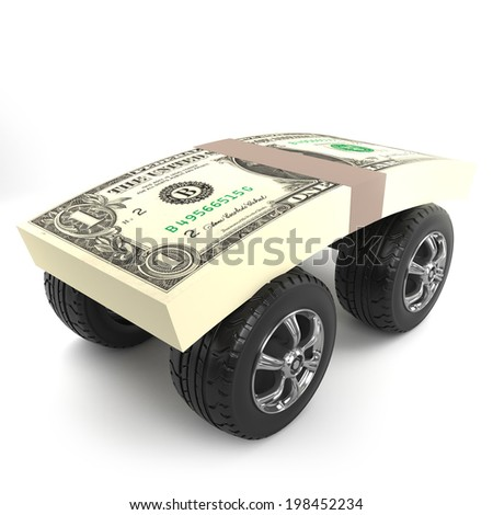3d render of a wad of US Dollar currency notes with car wheels