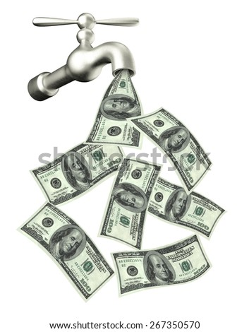 3d render of a water tap with dollars pouring out   - stock photo