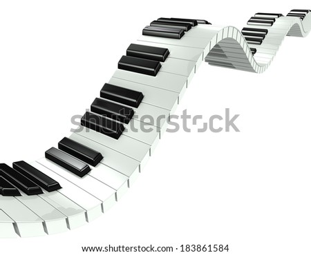 3d render of a wavy piano keyboard