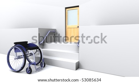 3d render of a wheelchair in front of steps to a door - stock photo