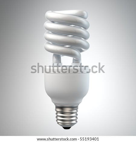 3d render of a white energy saving light bulb