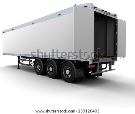 3D render of a white freight trailer