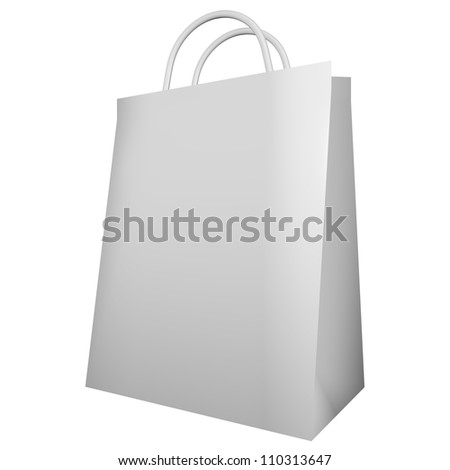 3d Render of a White Shopping Bag Isolated on White
