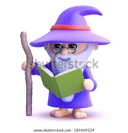 3d render of a wizard reading a book - stock photo