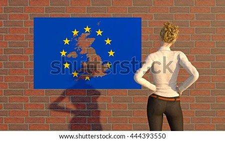3D render of a woman looking at a EU poster with a UK silhouette torn out. Depicting an emotional response to the BREXIT dilemma. depth-of-field and motion blur for dramatic effect. - stock photo
