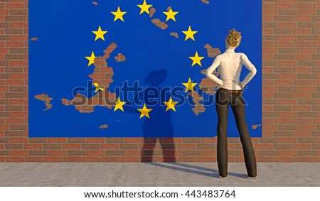 3D render of a woman looking at a tattered EU poster on a brick wall. Depicting an emotional response to the BREXIT dilemma. depth-of-field and motion blur for dramatic effect. - stock photo