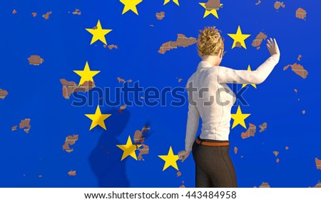 3D render of a woman turning away from a tattered EU poster on a brick wall. Depicting an emotional response to the BREXIT dilemma. depth-of-field and motion blur for dramatic effect. - stock photo