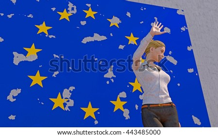 3D render of a woman turning away from a tattered EU poster on a concrete wall. Depicting an emotional response to the BREXIT dilemma. depth-of-field and motion blur for dramatic effect. - stock photo