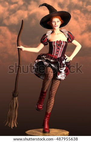 3d render of a young beautiful witch on a sky background