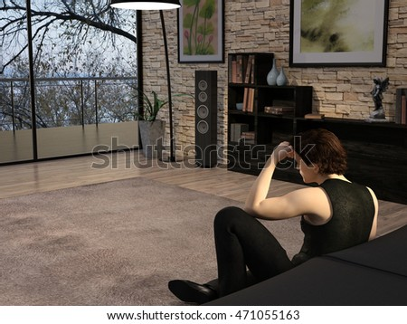 3d render of a young man spending calm evening in his modern loft in solitude