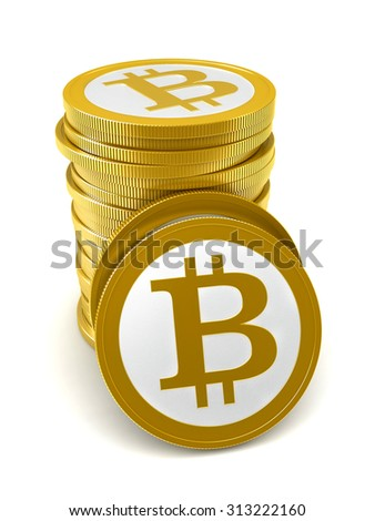 3d render of abstract bitcoin coins over white background - stock photo