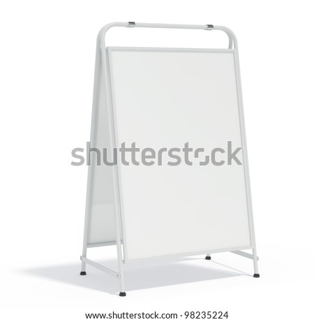 3d render of advertisement board with shadow - stock photo