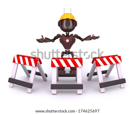 3D Render of an Android at construction site