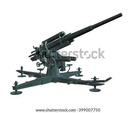 3D render of an anti aircraft gun isolated on white. - stock photo