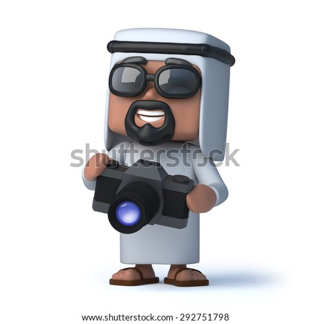 3d render of an Arab holding a camera