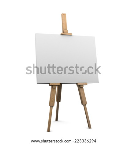 3d render of an artists easel with blank canvas