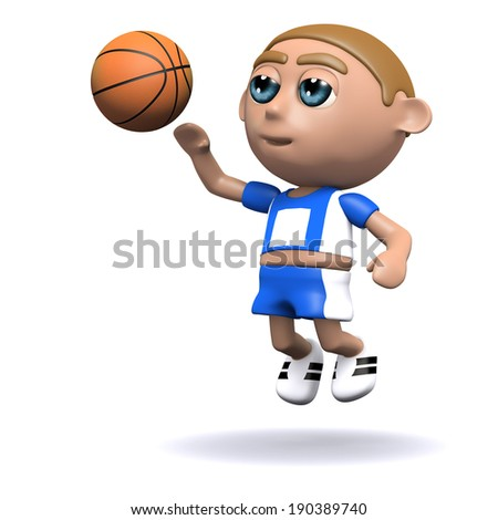 3d render of an athlete throwing a basketball - stock photo