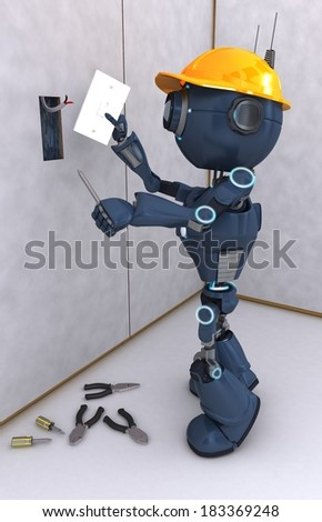 3D Render of an electrical contractor - stock photo