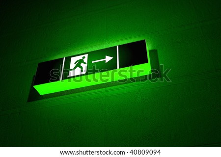 3d render of an emergency exit sign - stock photo